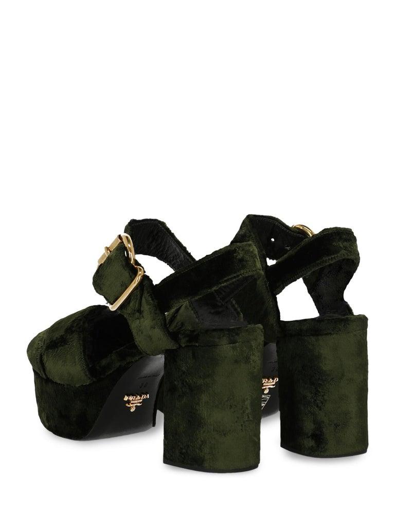 Black Prada  Women   Sandals  Green Fabric EU 38 For Sale