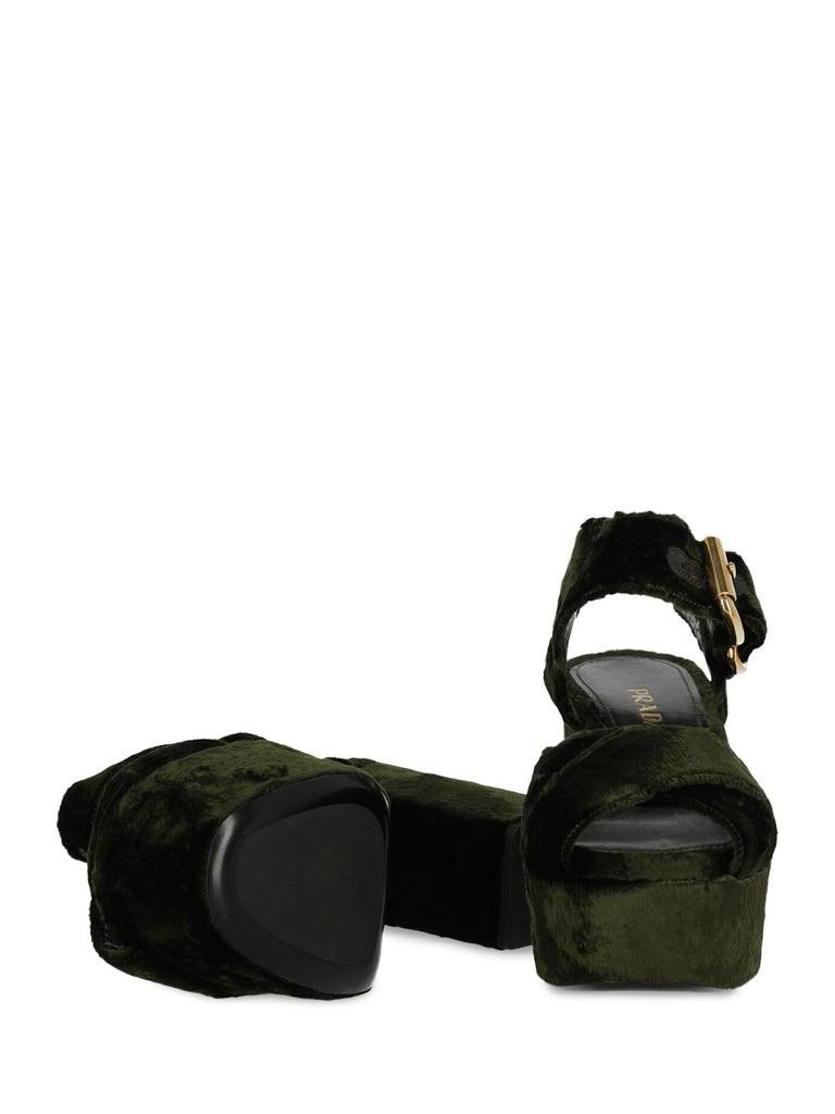 Prada  Women   Sandals  Green Fabric EU 38 In Good Condition For Sale In Milan, IT