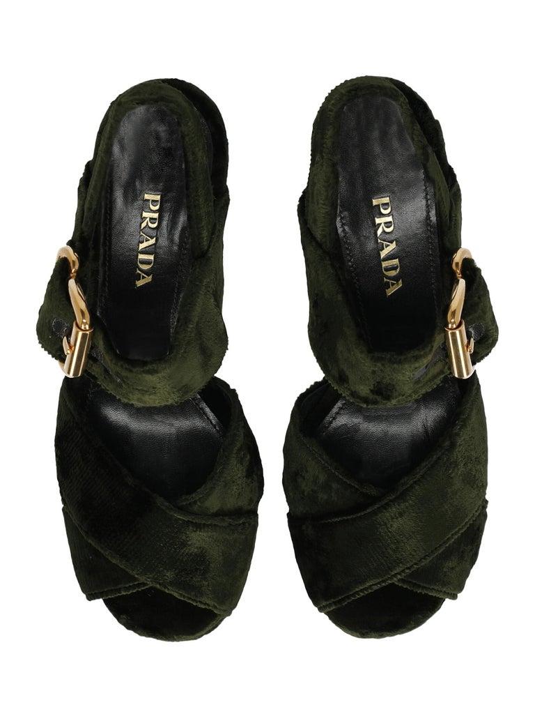 Women's Prada  Women   Sandals  Green Fabric EU 38 For Sale