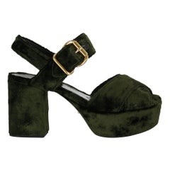 Prada  Women   Sandals  Green Fabric EU 38