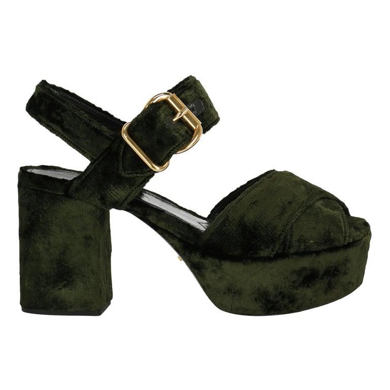 Prada  Women   Sandals  Green Fabric EU 38 For Sale