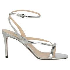 Prada  Women Sandals  Silver Leather EU 37