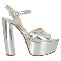 Prada Women  Sandals Silver Leather IT 38.5