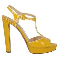 Prada Women  Sandals Yellow Leather IT 40.5