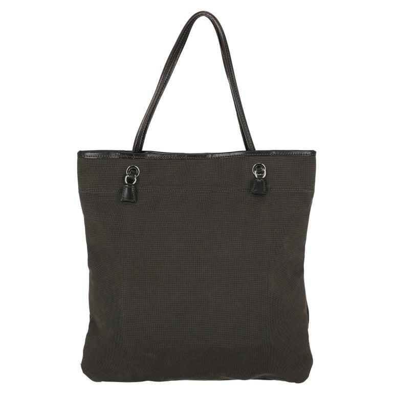 Prada  Women   Shoulder bags   Brown Cotton  For Sale