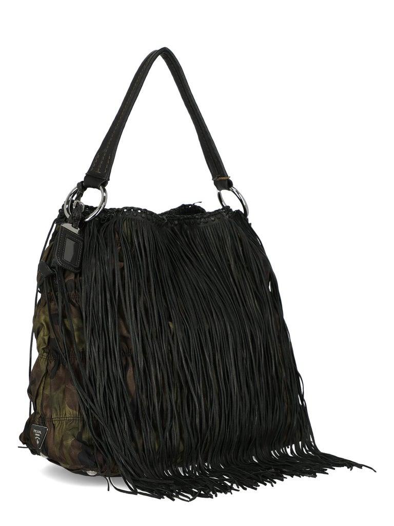 Black Prada  Women   Shoulder bags   Brown, Green Fabric  For Sale
