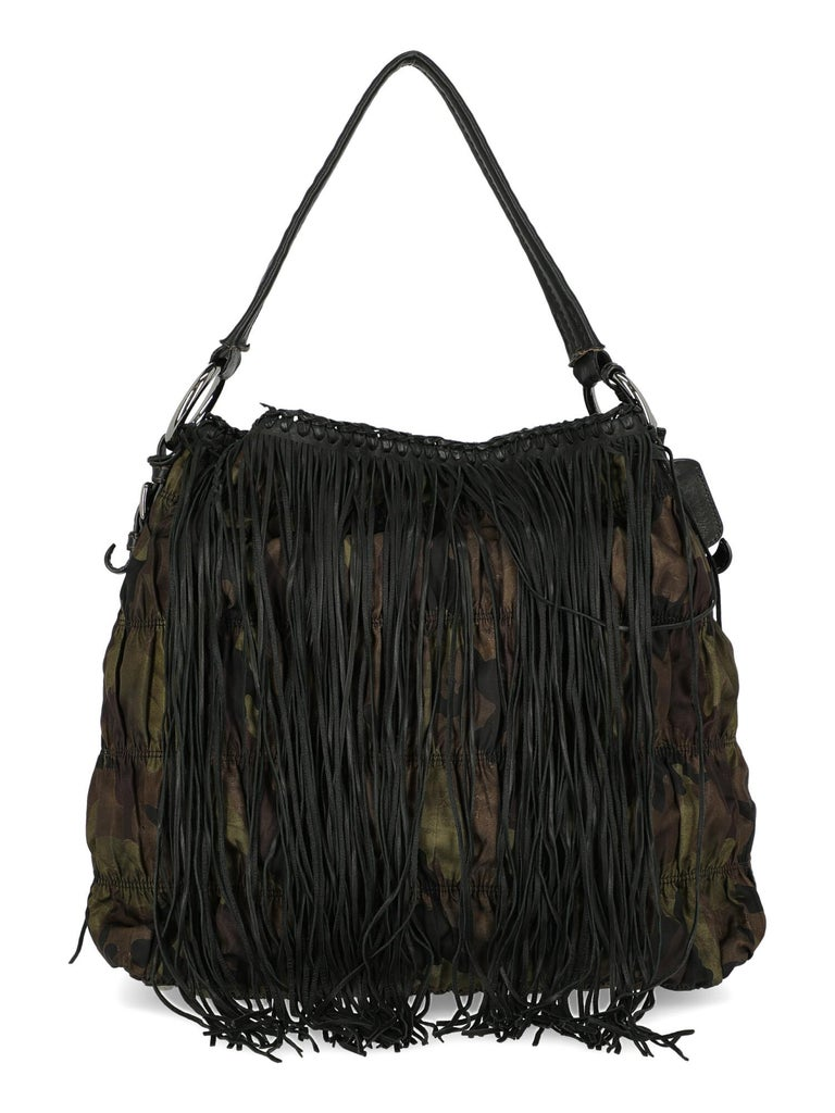 Prada  Women   Shoulder bags   Brown, Green Fabric  In Good Condition For Sale In Milan, IT