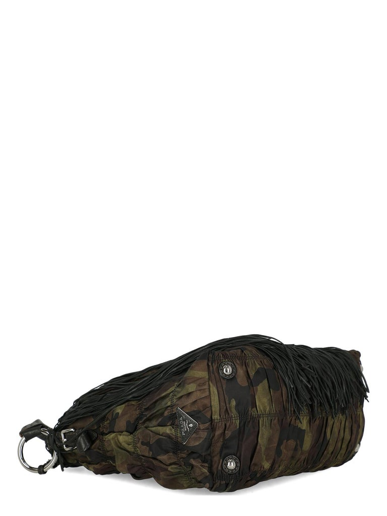 Women's Prada  Women   Shoulder bags   Brown, Green Fabric  For Sale