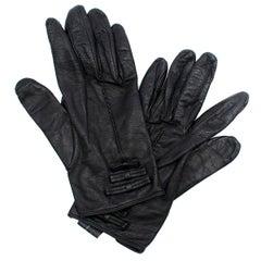Prada Women's Black Bow Embellished Leather Gloves One Size