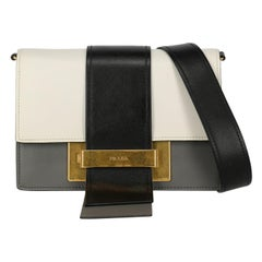 Prada Women's Crossbody Bag Ribbon Black/White Leather