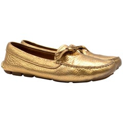 Prada Women's Gold Leather Loafers 37