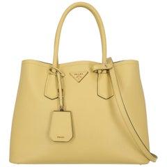 Prada Women's Handbag Double Yellow Leather