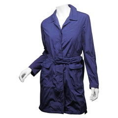 Prada Women's Size 44 Blue Button Down Long Raincoat w/ Belt