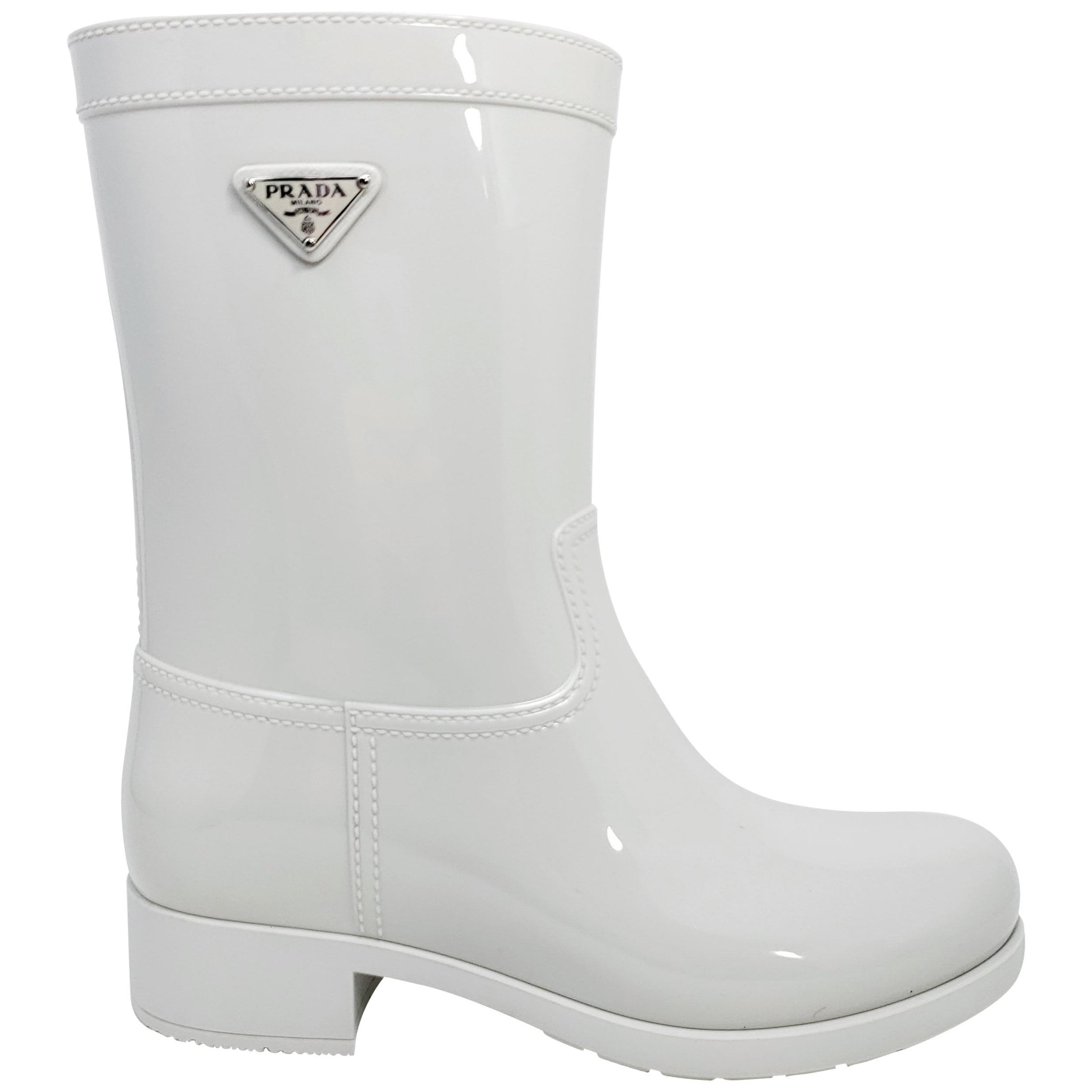 Prada Women's Sport Rubber Talco White Rain Boots Size US 8, EU 38