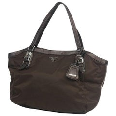 PRADA Womens tote bag brown x silver hardware
