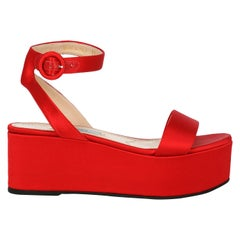Prada Women's Wedges Red Silk Size IT 35