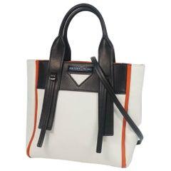 PRADA Wover Tulle 2WAY shoulder Womens handbag 1BG234 white x black