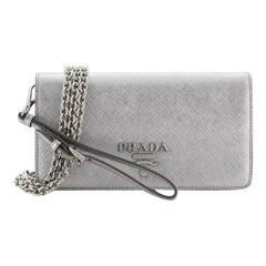 Prada Wristlet Wallet on Chain Saffiano Leather Mini