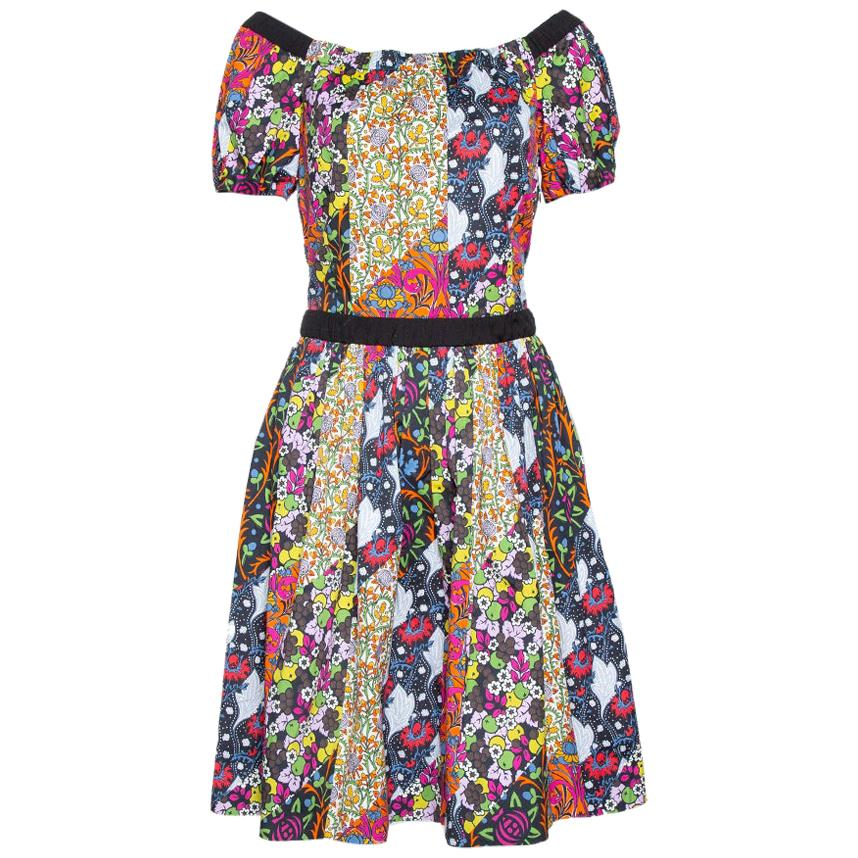 Prada X Holiday & Brown Multicolor Floral Print Cotton Flared Dress M