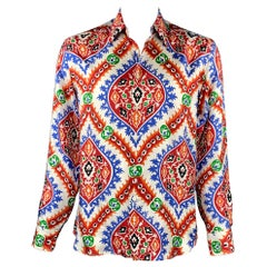 PRADA x HOLLIDAY BROWN Size L Multi-Color Abstract Silk Button Down Shirt