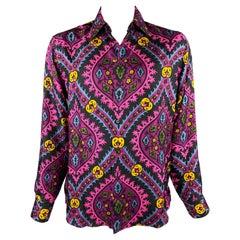 PRADA x HOLLIDAY BROWN Size L Purple & Black Abstract Silk Button Up Shirt
