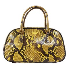 Prada Yellow Brown Exotic Leather Small Mini Top Handle Kelly Flap Shoulder Bag