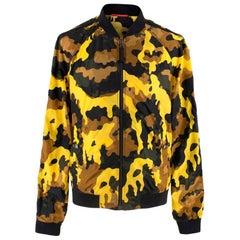 Prada Yellow Camouflage Nylon Bomber Jacket M