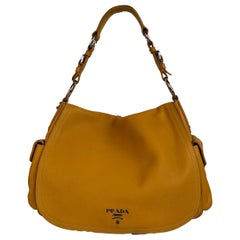 Prada Yellow Leather Flap Shoulder Bag with Side Pockets BR3706