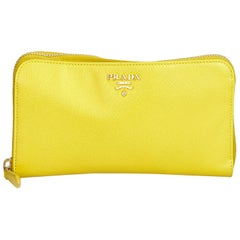 Prada Yellow  Leather Saffiano Continental Long Wallet Italy