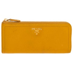 Prada Yellow Leather Zip Around Wallet