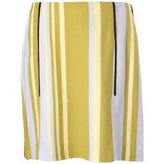 PRADA yellow olive lavander viscose STRIPED A-LINE Skirt 44 L