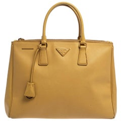 Prada Yellow Saffiano Lux Leather Large Double Zip Tote