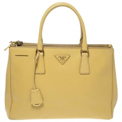 Prada Yellow Saffiano Lux Leather Medium Double Zip Tote