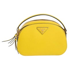 Prada Yellow Saffiano Lux Leather Odette Top Handle Bag