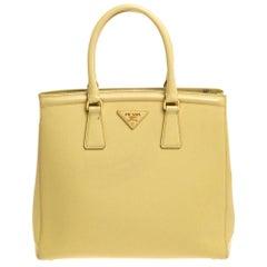 Prada Yellow Saffiano Lux Leather Parabole Tote