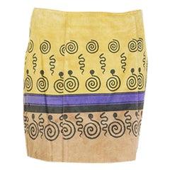 PRADA yellow tan purple PRINTED suede Short Skirt 42 M