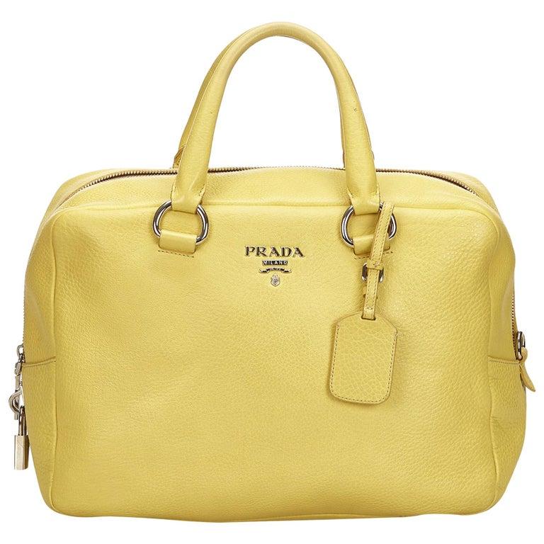 49ec4f9072 Prada Yellow Vitello Daino Leather Handbag For Sale at 1stdibs