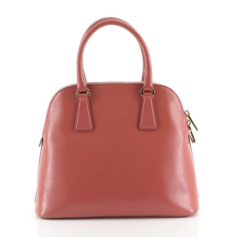 Prada Zip Around Convertible Dome Satchel Vernice Saffiano Leather North  In Good Condition For Sale In New York, NY