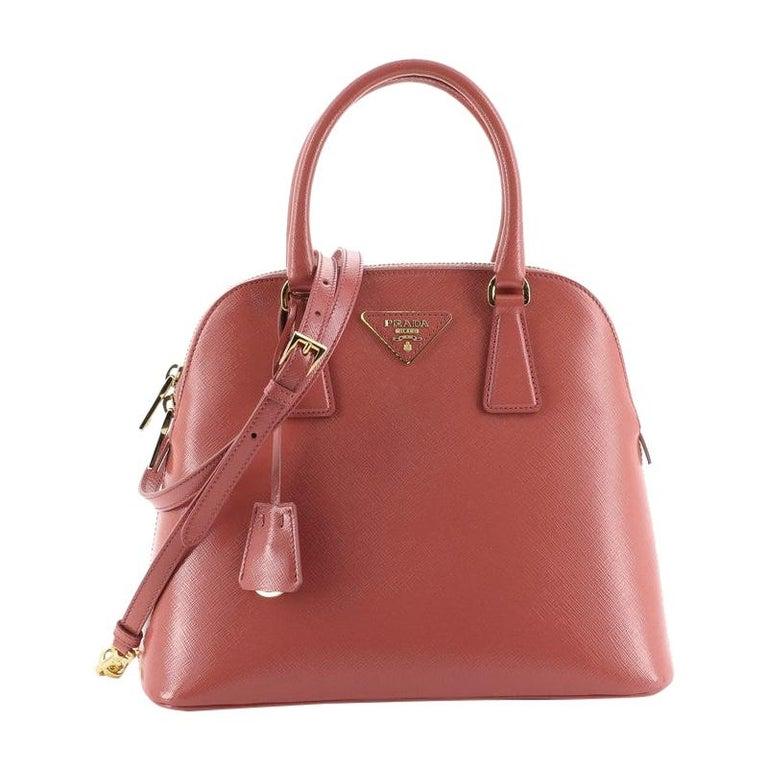 Prada Zip Around Convertible Dome Satchel Vernice Saffiano Leather North  For Sale
