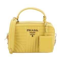 Prada Zip Around Top Handle Bag Diagramme Quilted Leather Small