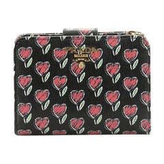 Prada Zip Around Wallet Printed Leather Compact