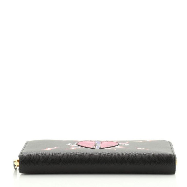 Prada Zip Around Wallet Printed Saffiano Long For Sale 1