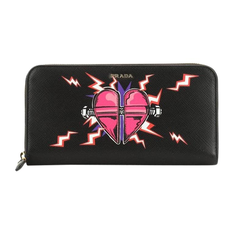 Prada Zip Around Wallet Printed Saffiano Long For Sale