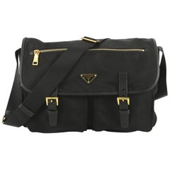 Prada Zip Buckle Messenger Bag Tessuto Large