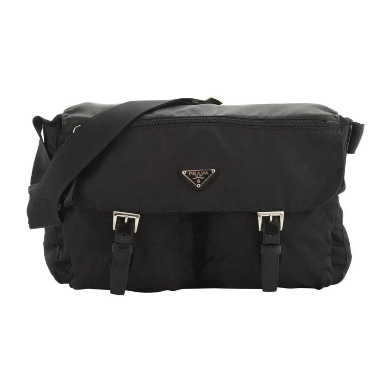 Prada Zip Buckle Messenger Bag Tessuto Medium For Sale
