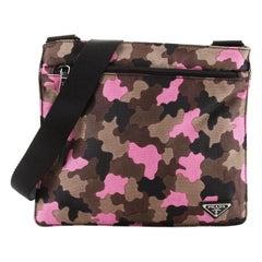 Prada Zip Crossbody Bag Camouflage Canvas Medium