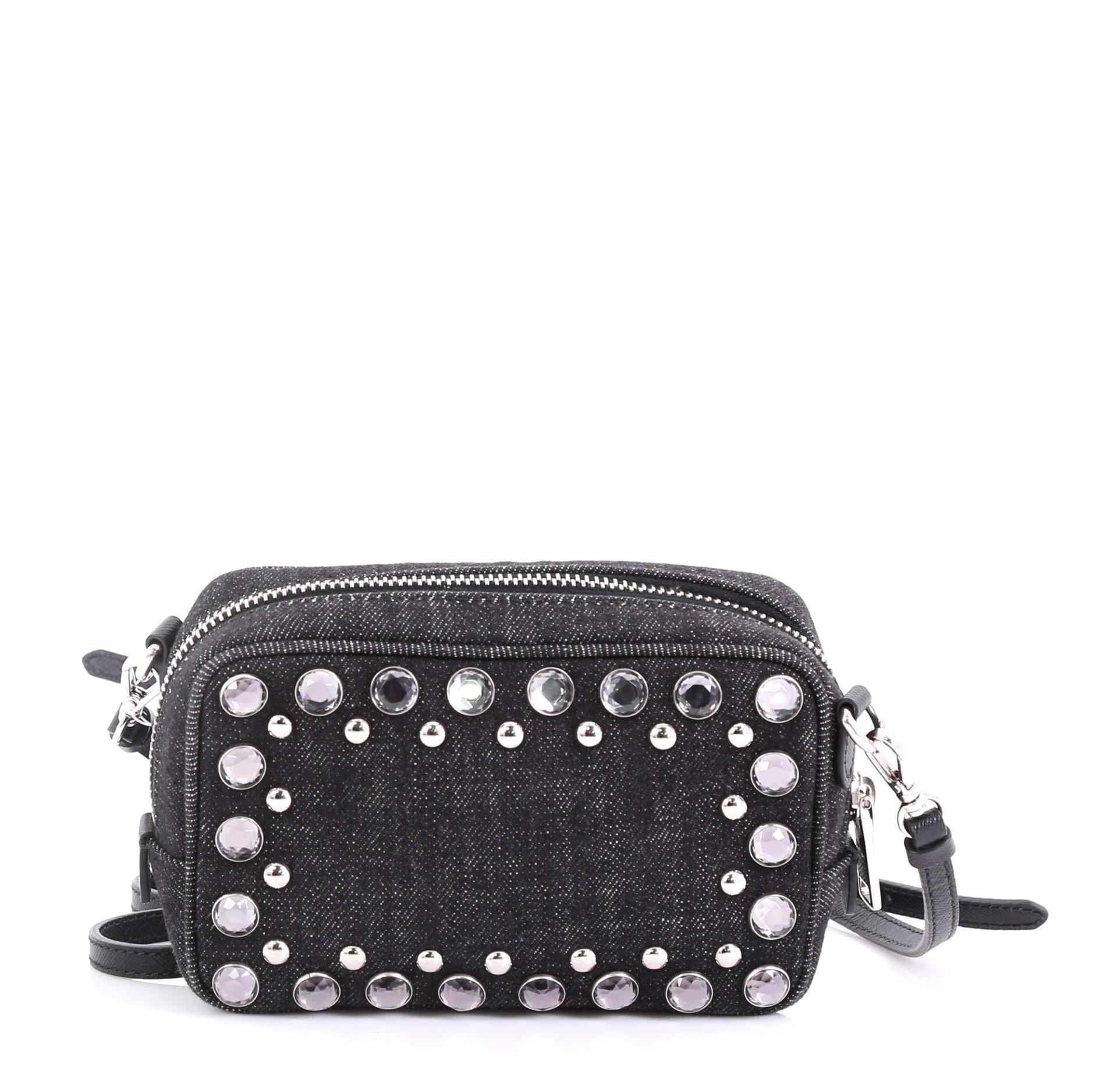 d180d939ff7c Prada Zip Crossbody Bag Rhinestone Embellished Denim Mini at 1stdibs
