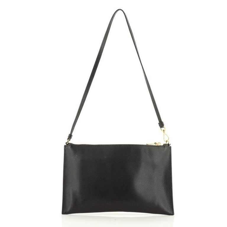 Prada Zip Flat Shoulder Bag Saffiano Leather Small  In Good Condition For Sale In New York, NY