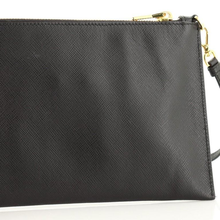 Prada Zip Flat Shoulder Bag Saffiano Leather Small  For Sale 3