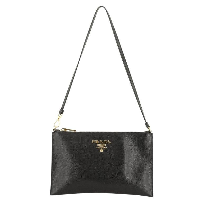 Prada Zip Flat Shoulder Bag Saffiano Leather Small  For Sale